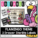 Flamingo Theme - EDITABLE 3 Drawer Sterilite Labels, Shiplap, Chaulkboard