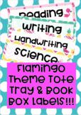 Flamingo Theme Tote Tray & Book Box Labels editable