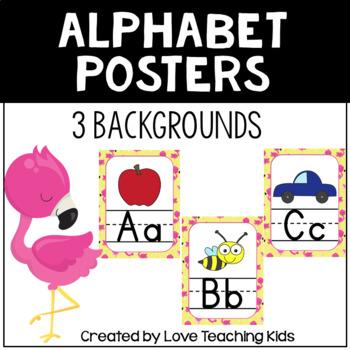 Flamingo Themed Alphabet Posters