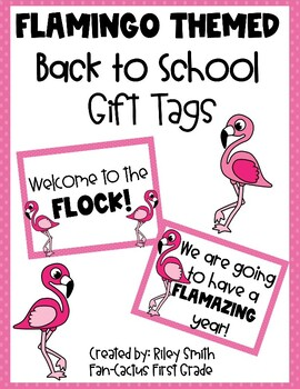 Flamingo Themed - Back to School Gift Tags for Students