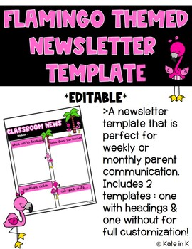 Flamingo Themed Class Newsletter Template EDITABLE