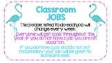 Flamingo Themed Classroom Job Board *COLOR and Black and White Included*