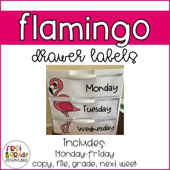 Flamingo Themed Drawer Labels