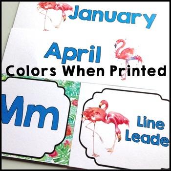Flamingo Themed Editable Job Cards