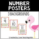 Flamingo Classroom Theme- Number Poster 0-20 with 10 frame