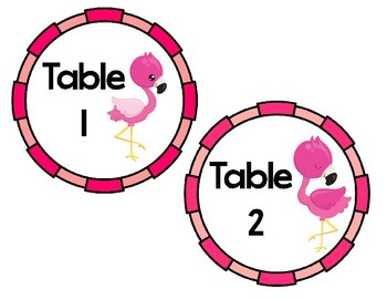 Flamingo Themed Table Numbers