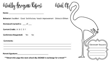 Flamingo Themed Weekly Progress Report