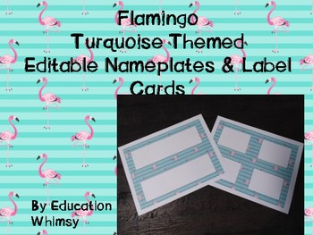 Flamingo Turquoise Editable Nameplates and Label Cards