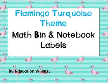 Flamingo Turquoise Math Labels/Cards