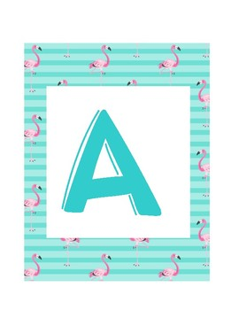 Flamingo Turquoise Word Wall Letters