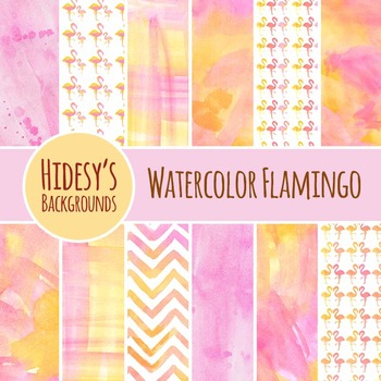 Flamingo Watercolor Backgrounds / Digital Papers Clip Art Commercial Use