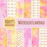 Flamingo Watercolor Backgrounds / Animal / Bird Digital Pa