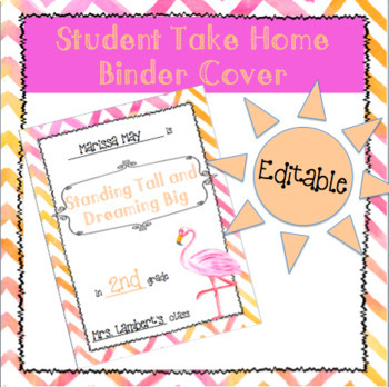 Flamingo Watercolor Student Take Home Binder Cover
