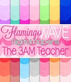 Flamingo Waves Digital Papers / Backgrounds