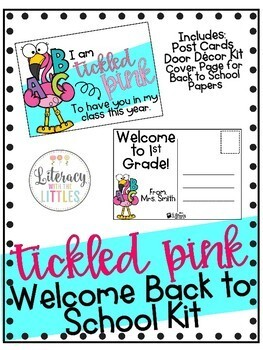 Flamingo Welcome Back to School Kit (Postcards & Door Decor)