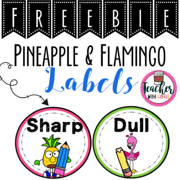 Flamingo and Pineapple Pencil Labels