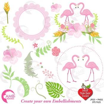 Flamingo clipart, Pink Flamingo, DYI Clipart Kit {Best Teacher Tools} AMB-2248