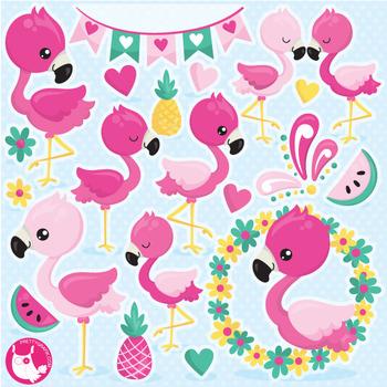 Flamingo cute. Clipart commercial use vector