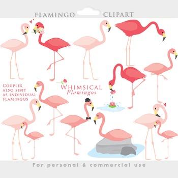 Flamingo clipart - flamingos clip art flamingoes birds baby in love pink