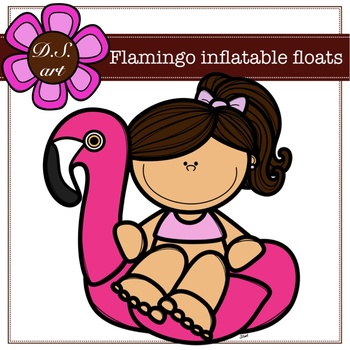 Flamingo inflatable floats Digital Clipart (color and black&white)