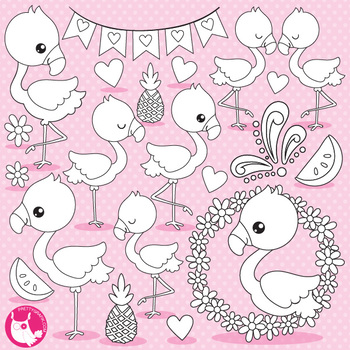 Flamingo stamps,  commercial use, vector graphics, images  - DS1059
