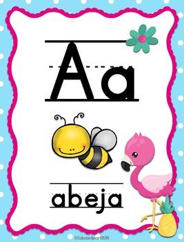 Flamingos - Abecedario Manuscrito (spanish ABC)