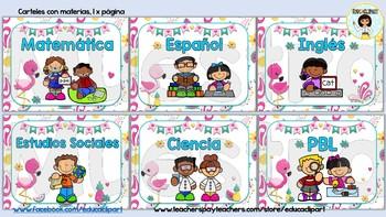 Flamingos - Materias (Spanish School Subjects)