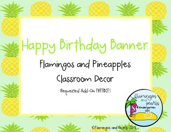 Flamingos and Pineapples Classroom Decor: Happy Birthday Banner Add-On
