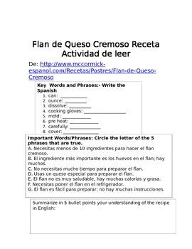 Flan de queso cremoso recipe authentic reading activity