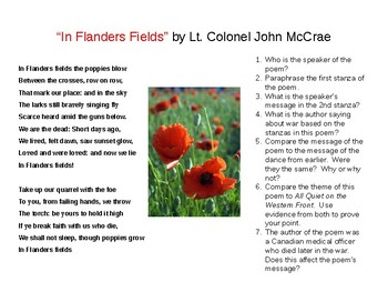 All Quiet On The Western Front And Flander S Field Comparison Tpt In Paraphrase
