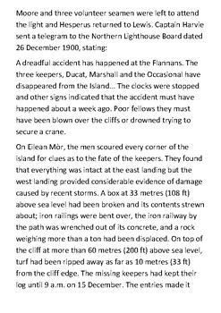 Flannan Isles Lighthouse Disappearance (The Vanishing) Handout