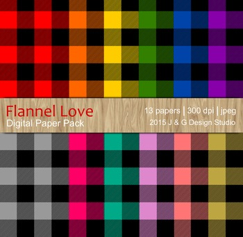 Flannel Love Digital Paper Pack 12x12 10 papers