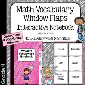 Math Vocabulary Interactive Notebook Foldable Operations Algebraic Thinking