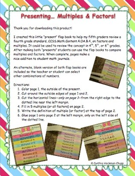 "Flap Books ""Present"" Multiples & Factors"