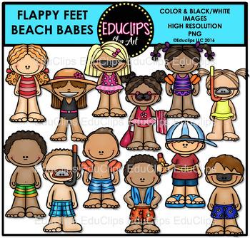 Flappy Feet Beach Babes Clip Art Bundle {Educlips Clipart}