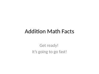Flash Addition Math Facts PowerPoint