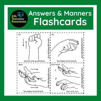 Flash Card, Answers & Manners, ASL, how to learn Sign Language & Free book