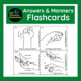 Flash Card, Answers & Manners, ASL, how to learn Sign Language