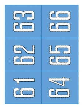 Flash Card Numbers 1-100  Blue