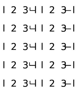 Flash Card Numbers 1-4