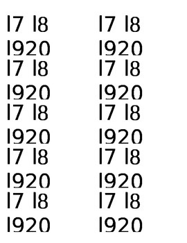Flash Card Numbers 17-20