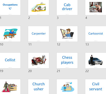 Flash Card - Occupations with A to Z listing (484 cards images + words cards)