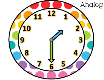 Flash Card Posters - Digital & Analog Time - Hour, Half Hour, and Quarter Hour