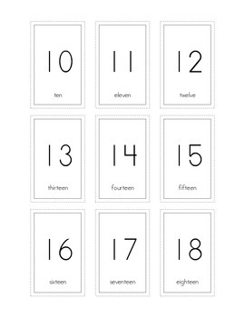Number Flash Cards 1-100 with Words