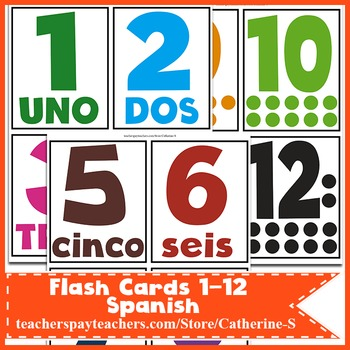 Flash Cards 1- 12 Spanish