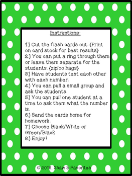Numbers {1-120} Flash Cards
