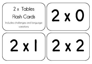 Flash Cards - 2 x Tables