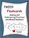 Flash Cards - Adding and Subtracting Mixed Numbers and Fractions