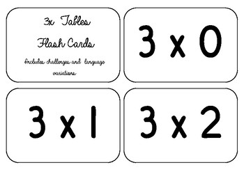 Flash Cards - 3X Tables