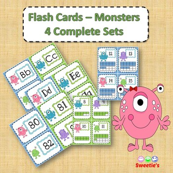 Flash Cards - 4 Complete Sets - Monster Theme